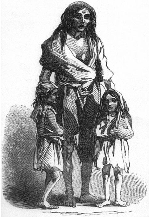 1849 representación de Bridget O'Donnell y sus dos hijos durante la hambruna irlandesa. (Chris 73 / Dominio Público)