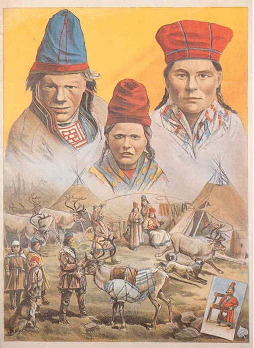 1893 cartel publicitario de una exhibición de la gente sami organizada por Carl Hagenbeck en Hamburg-Saint Pauli, (Felistoria / Dominio Público)