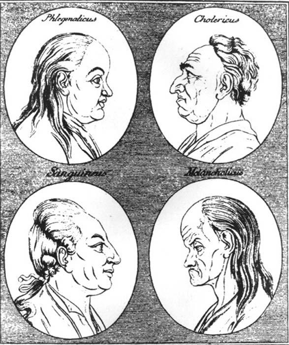 Representación del siglo XVIII de los cuatro temperamentos: flemático y colérico (arriba) Sanguino y melancólico (abajo). (Dominio público)