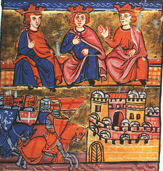 Los comandantes cristianos de la Segunda Cruzada: Conrado III de Alemania, el marido de Leonor, Luis VII de Francia (en el centro) y Balduino III de Jerusalén (Public Domain)