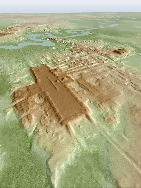 Imagen en 3D del sitio de Aguada Fénix basada en LIDAR. (Takeshi Inomata / Nature)
