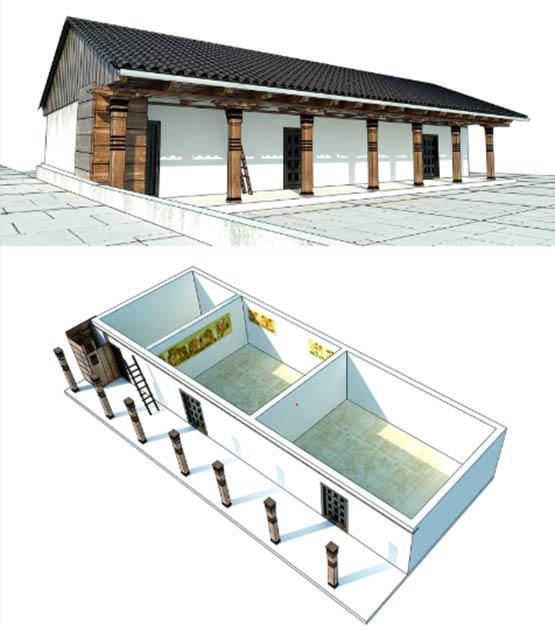 Modelo 3D de la casa con los murales resaltados (Imagen: Reconstrucción por A. Kaseja; escaneo 3D por B. Pilarski / Antiquity Publications Ltd)