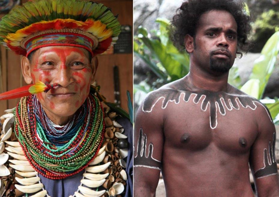 Izquierda: Chamán amazónico (Wikimedia Commons). Derecha: Aborigen australiano (Steve Evans / Flickr)