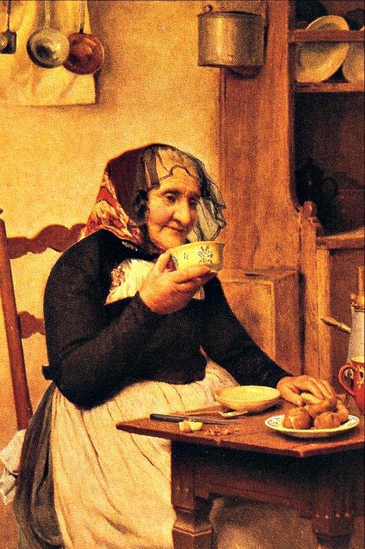 """Actualmente las gentes del medio rural emplean un 5% de su día en masticar. Las gentes de las sociedades urbanas aún menos. En la imagen, """"Abuela"""", óleo del pintor suizo Samuel Albrecht Anker (1831-1910 ). (Public Domain)"""