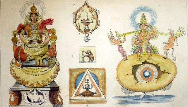 Grabado en acero de la década de 1850 en el que aparecen representadas las actividades creadoras de Prajapati, una deidad védica que preside la procreación y la protección de la vida. (Dominio público)