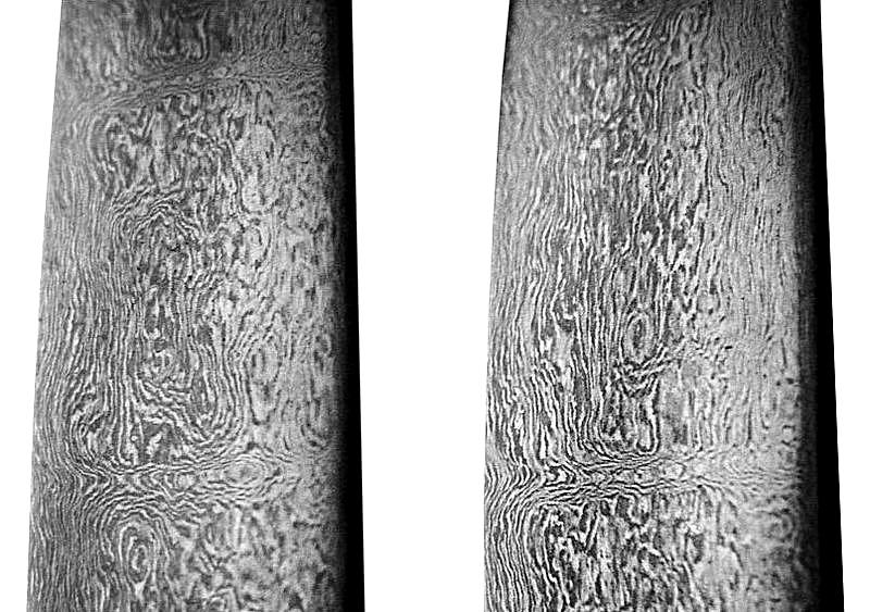 Patrones hallados en el acero de la hoja de una espada iraní. (GNU Free)