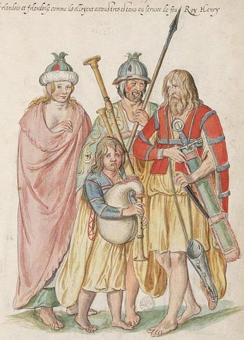 Acuarela titulada 'Irlandeses equipados para el servicio del último rey Enrique' (c. 1575), obra de Lucas de Heere. (Public Domain)