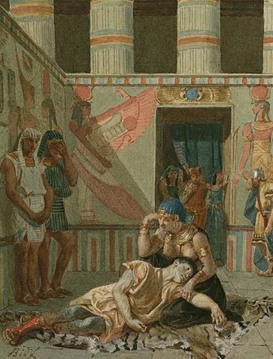 """Pintura de finales del siglo XIX en la que aparece representada la escena 15 del acto IV de la obra de Shakespeare """"Marco Antonio y Cleopatra"""": Cleopatra acompaña a Marco Antonio en su muerte. Acuarela de Alexandre Bidas. (Biblioteca Folger Shakespeare / CC BY SA 4.0)"""