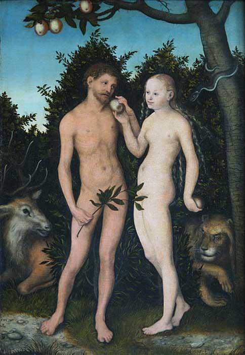 'Adán y Eva en el Paraíso (La Caída)' (1533), pintura de Lucas Cranach el Viejo. (Dominio público)