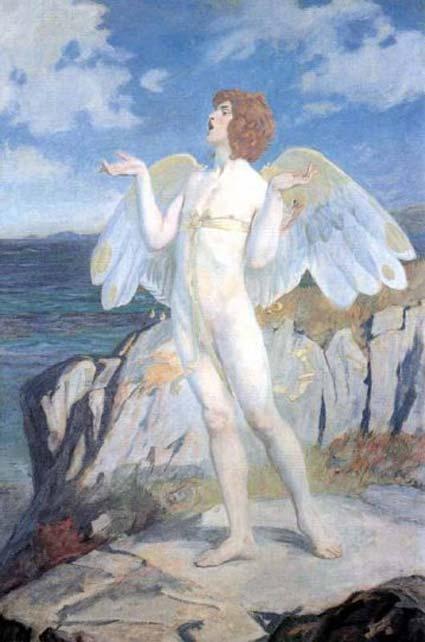 Pintura de la época victoriana en la que aparece Áengus mac Óg, representado aquí con alas de cisne. (Dominio público)