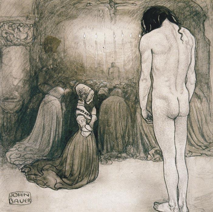 """""""Agneta, mírame,"""" suplicó. Pero ella no alzó su rostro. Permaneció arrodillada en el mismo sitio, tan quieta como una estatua. Ilustración de John Bauer. (Melusina Mermaid)"""