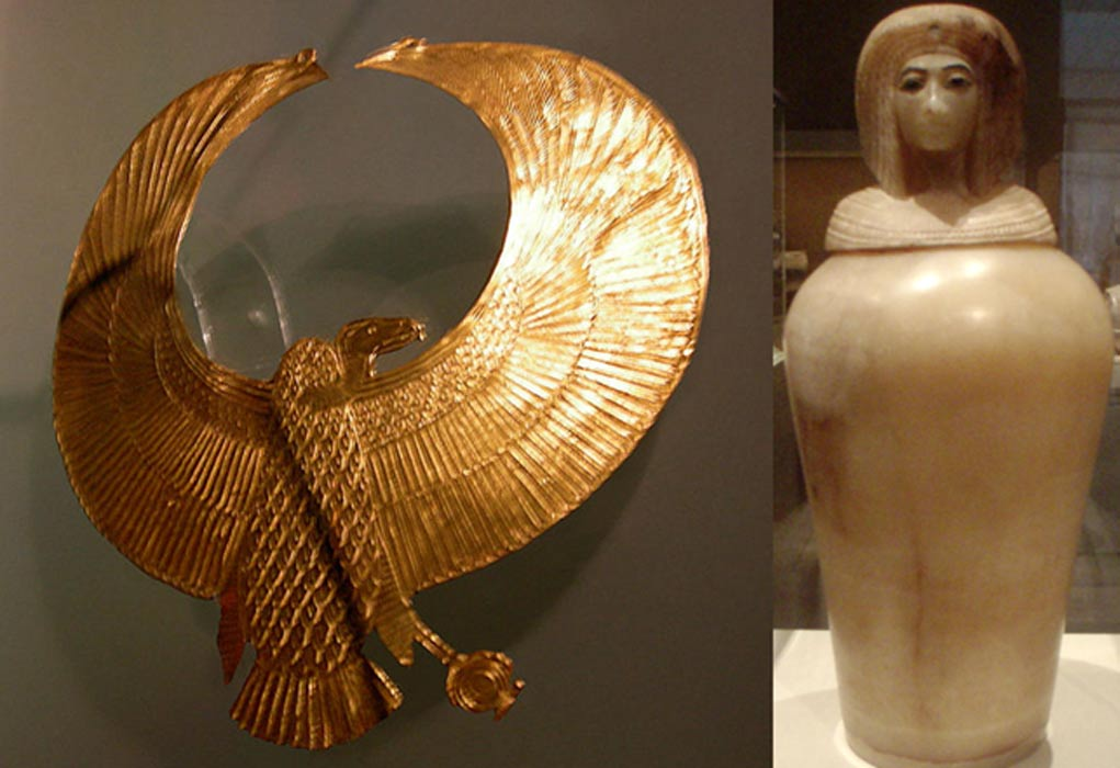 Pectoral real del antiguo Egipto con la figura de un buitre (Ulises Muñiz/CC BY SA 2.0) y vaso canopo de alabastro con la efigie posiblemente de una reina de la época de Amarna (Keith Schengili-Roberts/CC BY SA 2.5). Ambas piezas fueron descubiertas en la tumba KV55.