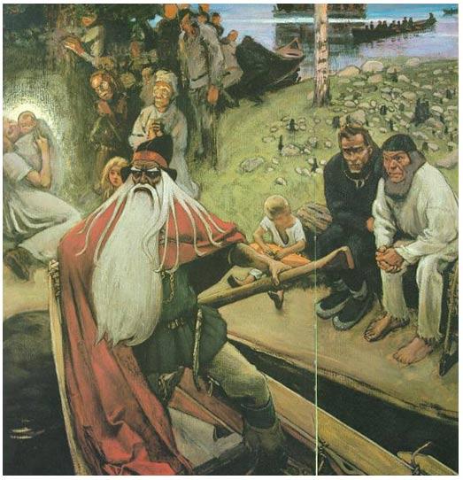Akseli Gallen-Kallela: La Partida de Väinämöinen (Wainamoinen) frena con éxito las tragedias que los hijos de Loviatar traen al mundo. Hämeenlinna Art Museum 1896-1906