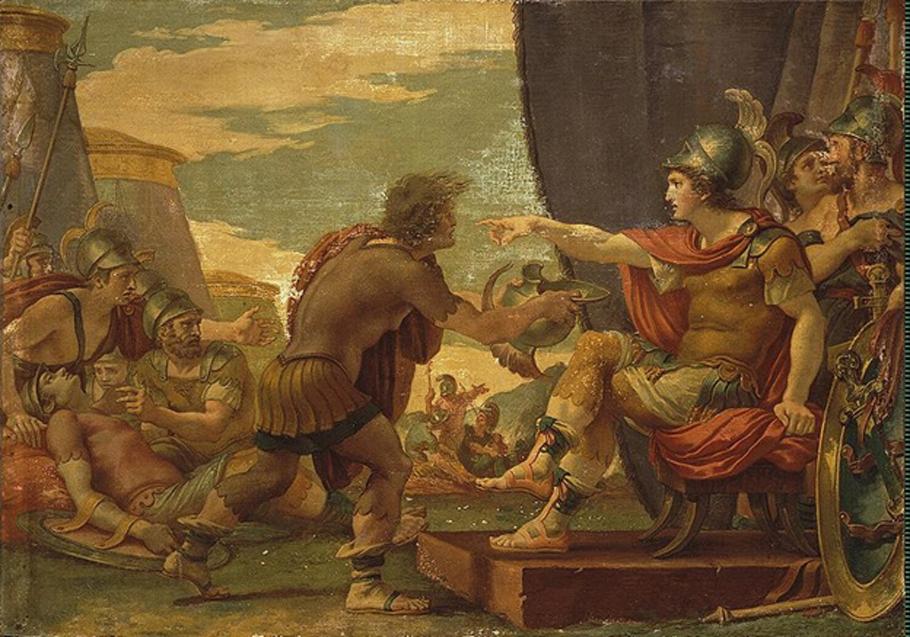 'Alejandro Magno se niega a tomar agua', témpera de Giuseppe Cades, Museo del Hermitage de San Petersburgo (Rusia) (Dominio público)