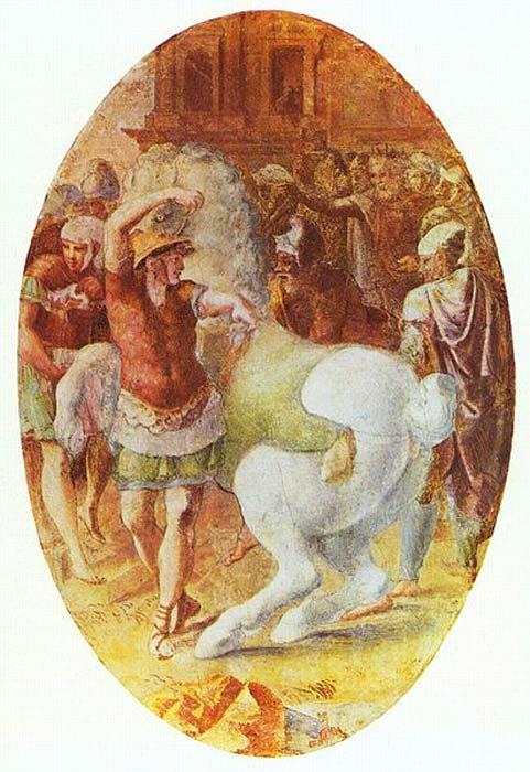 'Alejandro domando a Bucéfalo', fresco de Francesco Primaticcio (1544) (Public Domain)