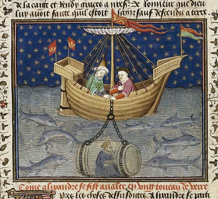 'Alejandro explora los mares en un submarino.' (1444-1445) (Public Domain) Este es uno de los 'Romances de Alejandro' medievales en los que se cuentan aventuras diversas supuestamente vividas por Alejandro Magno.