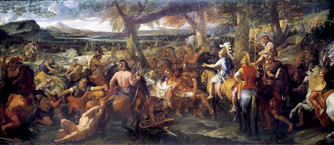 'Alejandro y Porus', óleo de Charles Le Brun (1673). (Dominio público) Una leyenda india cuenta que Alejandro Magno murió a consecuencia del abrazo de una Visha Kanya