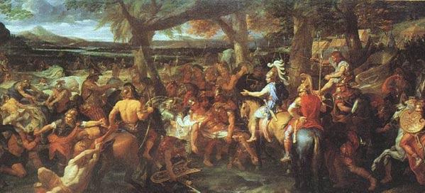 Pintura de Charles Le Brun en la que aparecen Alejandro y Hefestión (con capa roja), enfrentándose a Porus en la Batalla de Hydaspes. (Wikipedia)