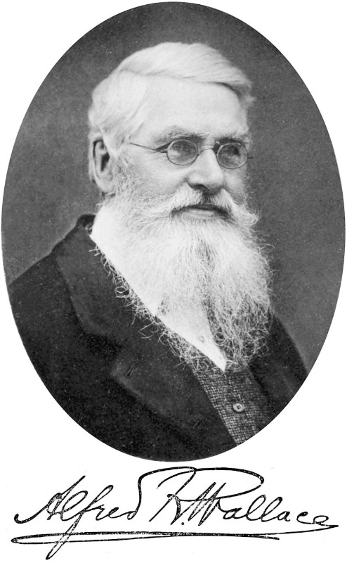 """Retrato y firma de Alfred Russel Wallace en la portada de su libro """"Darwinism"""". (1889). (Public Domain)"""