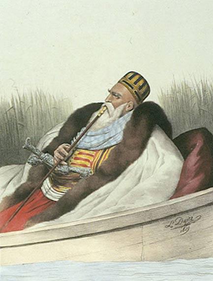 Alí Pashá de Ioánnina Cazando en el Lago Butrinto (1825), Louis Dupré (Wikimedia Commons)