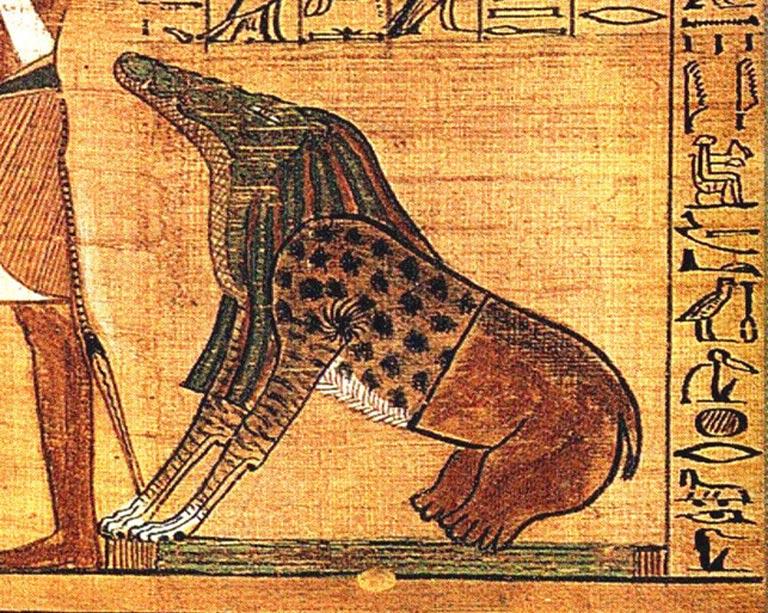 """Ammut, demonio femenino del antiguo Egipto, en parte león, en parte hipopótamo y en parte cocodrilo: los tres animales """"devoradores de hombres"""" por excelencia para los antiguos egipcios. Se trataba de una diosa funeraria, y entre sus títulos estaban los de """"Devoradora de los Muertos,"""" y """"La que se alimenta de corazones."""" (Public Domain)"""