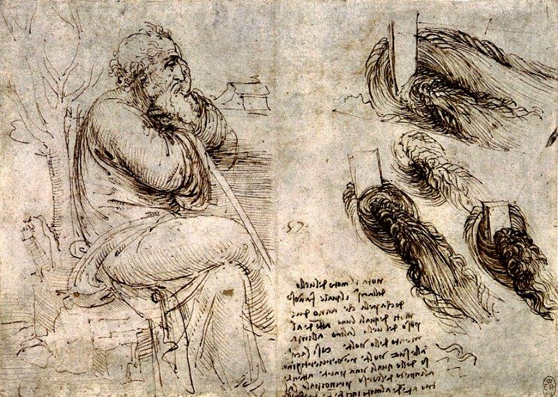 Anciano pensativo. Determinados expertos consideran que este dibujo es el último autorretrato de Leonardo. Biblioteca Real de Windsor, Inglaterra. (Public Domain)