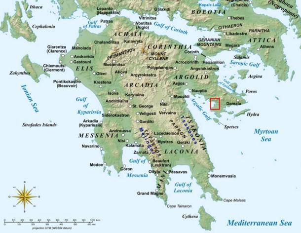 La Antigua Ciudad Griega fue descubierta en la Bahía de Kiladha, península del Peloponeso, al sur de Atenas (Wikipedia)
