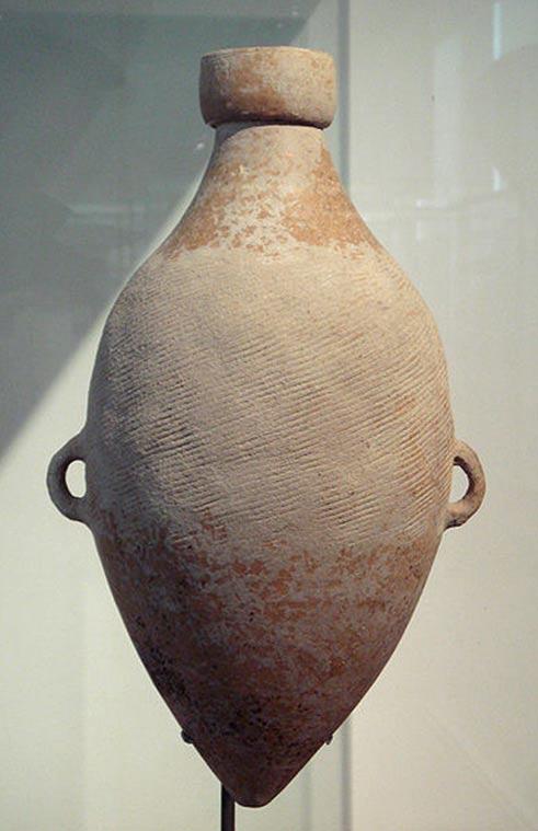 Ánfora de cáñamo, decorada con marcas de cuerda, Cultura Yangshao, 4800 a. C., Shaanxi (Wikimedia Commons)