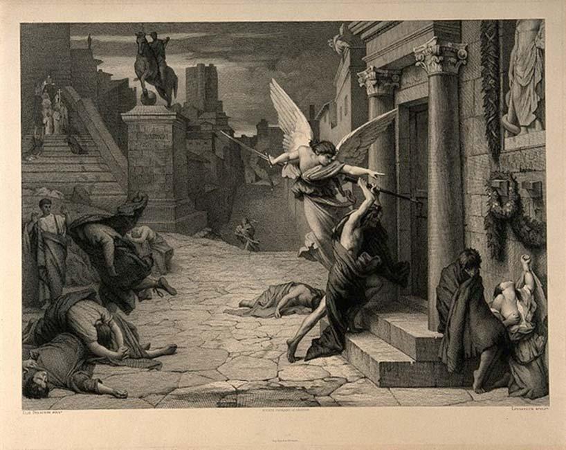 El ángel de la muerte asalta una vivienda durante la epidemia de Peste antonina que asoló Roma en el siglo II d. C. (Fæ/CC BY-SA 4.0)