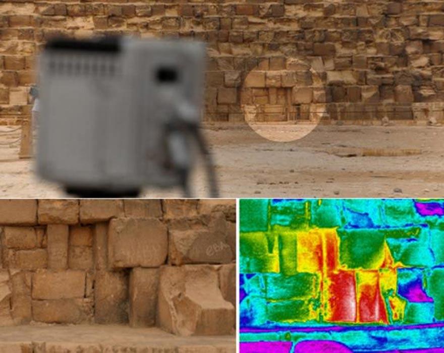 Se observaron en todos los monumentos diversas anomalías térmicas, pero una de ellas, especialmente llamativa, se detectó a nivel del suelo en la cara este de la Gran Pirámide, también conocida como Pirámide de Khufu o Keops. Fotografía: Philippe Bourseiller / HIP Institute, Facultad de Ingeniería de El Cairo / Ministerio de Antigüedades.