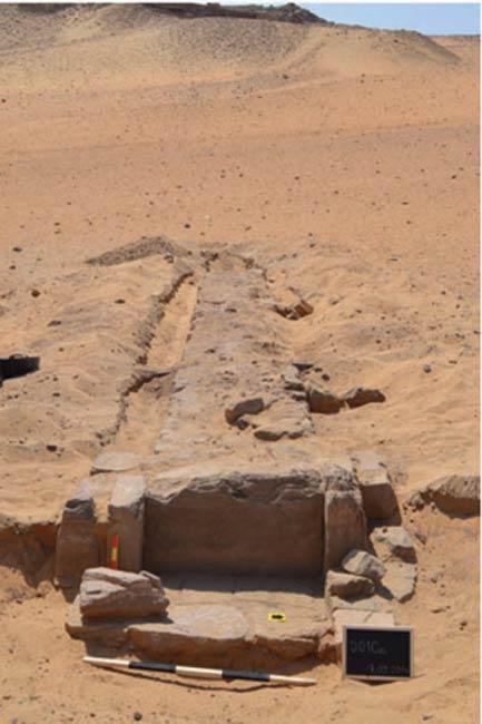 La calzada recientemente descubierta en Asuán, Egipto. (Ahram Online)