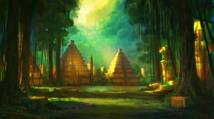 Ilustración de una antigua ciudad del Amazonas. (TheRavens)