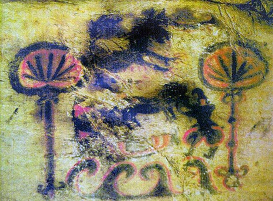 Antigua pintura japonesa en la que se observan hojas de cánnabis (herbmuseum.ca)