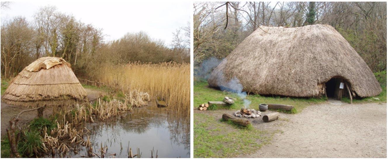 Reconstrucción de una antigua cabaña de cazadores-recolectores (izquierda) y una de agricultores (derecha), en el Irish National Heritage Park de Wexford, Irlanda. (David Hawgood/CC BY SA 2.0)