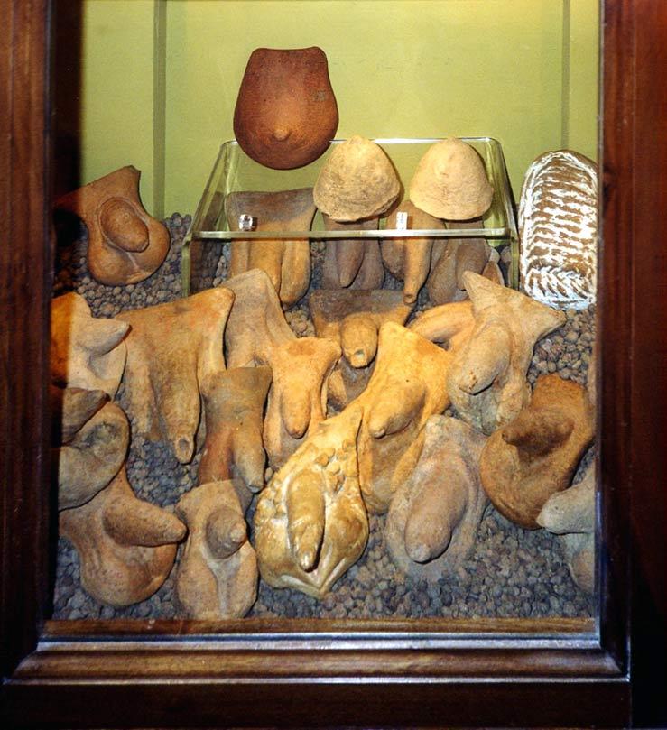 Antiguas figuras sexuales de terracota: penes, pechos y, a la derecha, un útero. Museo Archeologico Nazionale de Nápoles. (Public Domain)