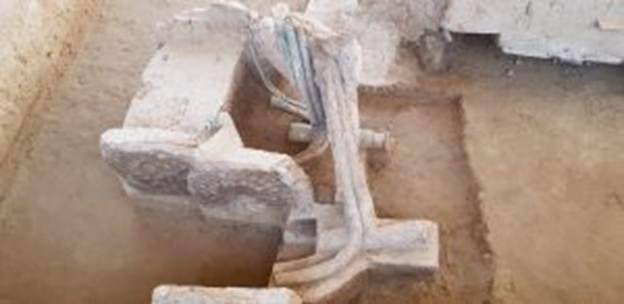 Uno de los antiguos carros de guerra recientemente descubiertos en la India. (Servicio Arqueológico de la India)