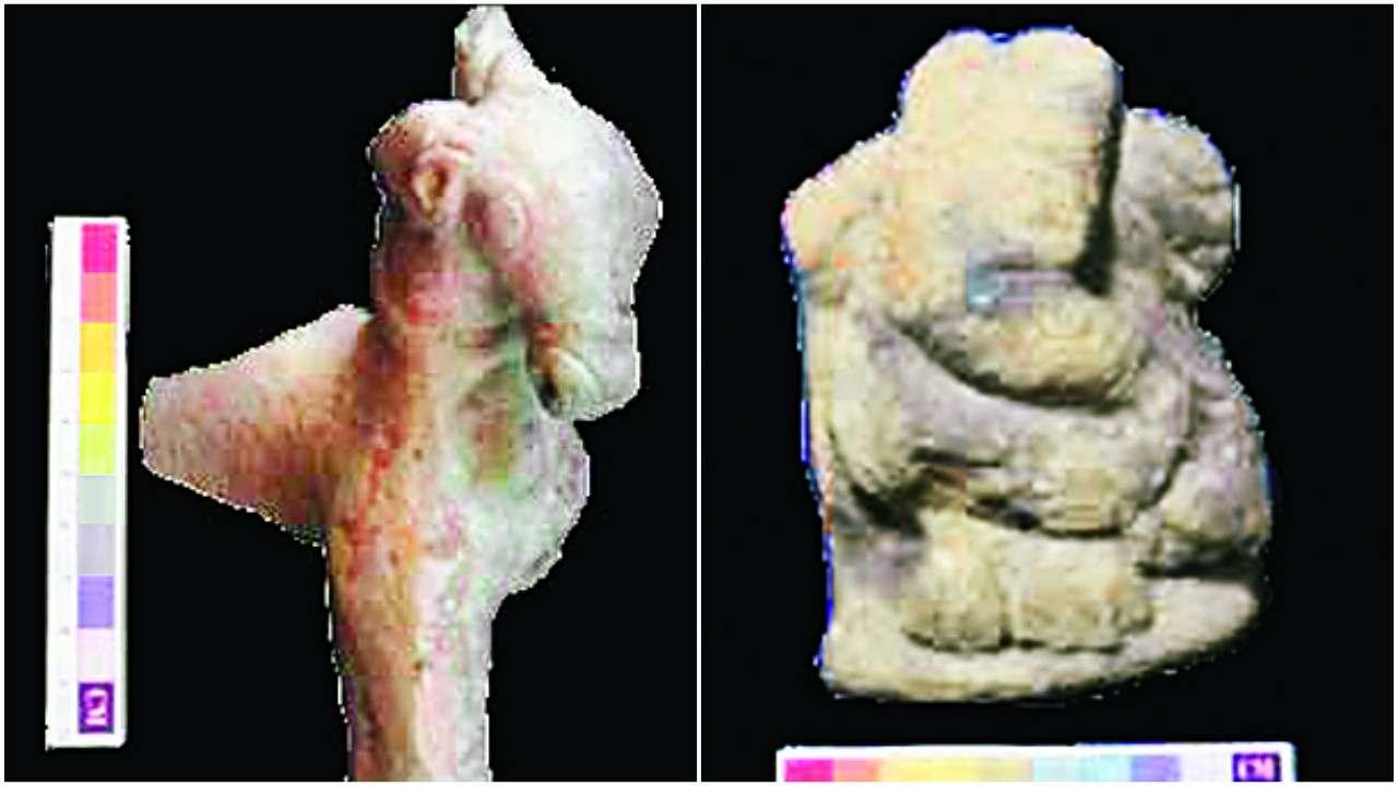 Se encontraron en Nagardhan un toro de juguete de terracota y un ídolo de Ganesha. (Imagen: dnaindia)