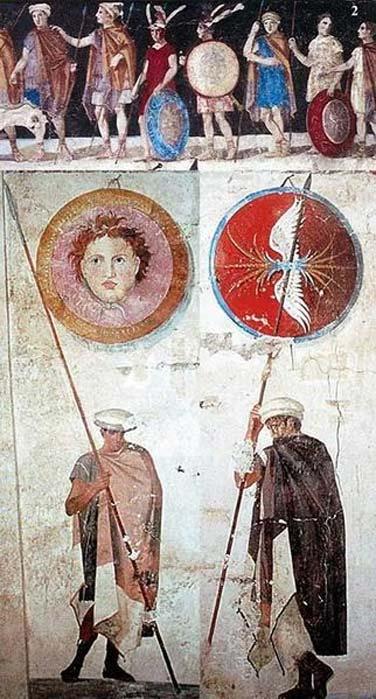 Pintura de antiguos soldados macedonios con sus armas y equipo. Tumba de Agios Athanasios, Tesalónica, Grecia, siglo IV a. C. (Dominio público)