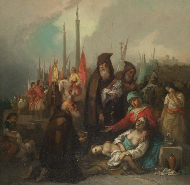 """""""Auxilio a unos apestados"""", de Federico Madrazo (Wikimedia Commons)"""