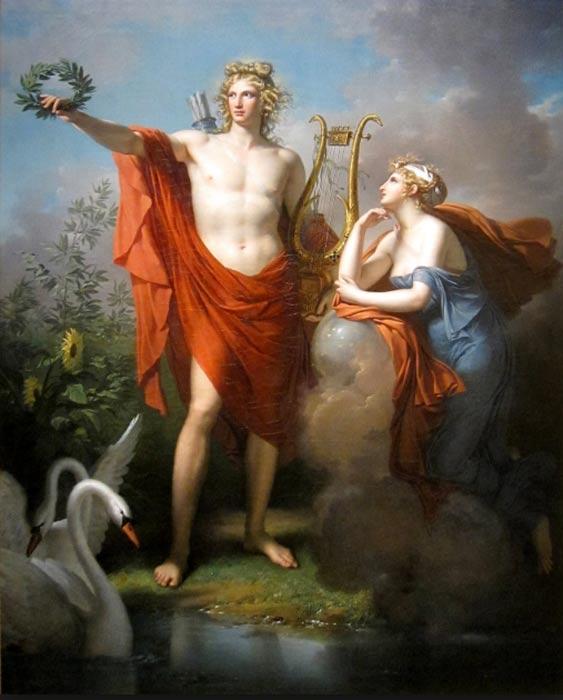 Apolo, dios de la luz, la elocuencia, la poesía y las Bellas Artes, aparece en esta pintura junto a Urania, musa de la astronomía. (Public Domain)
