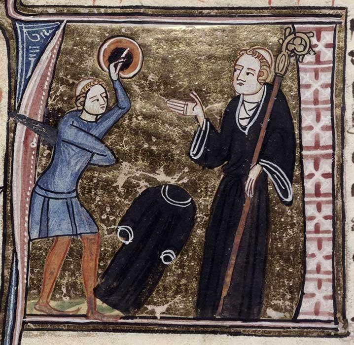 Detalle de una A historiada (inicial de 'Apóstata') con la ilustración de un ex-clérigo tonsurado, armado con una espada y un escudo y con su hábito negro en el suelo, enfrentándose a un abad. (Dominio público)