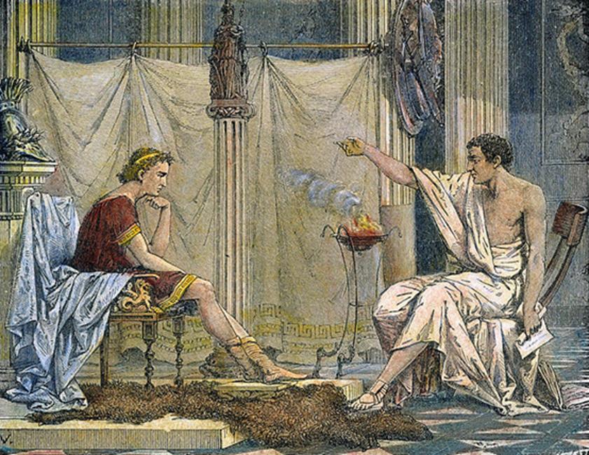 Aristóteles instruye a un joven Alejandro (Public Domain)