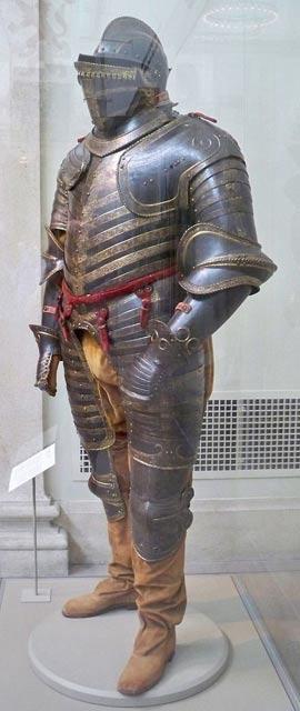 Armadura de campaña de Enrique VIII de Inglaterra, fabricada en Italia (Milán o Brescia) en torno al 1544 (Fotografía: Matthew G. Bisanz/Wikimedia Commons)