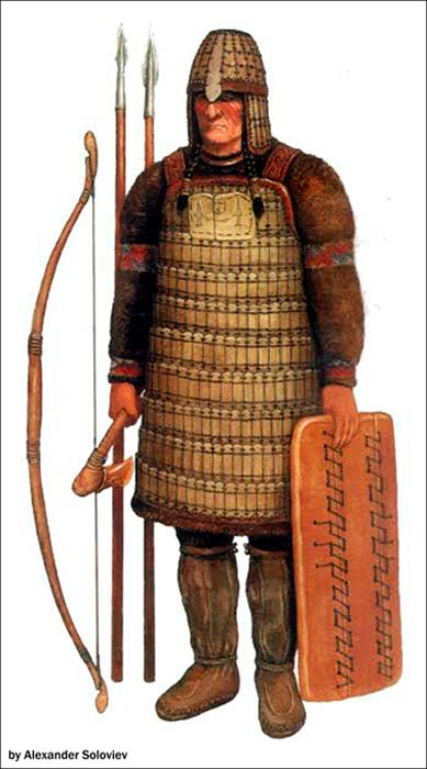Según Gusev Yamal, la antigua armadura recientemente descubierta en Siberia se asemejaba al diseño utilizado por el pueblo Kulai. Ilustración: Alexander Soloviev