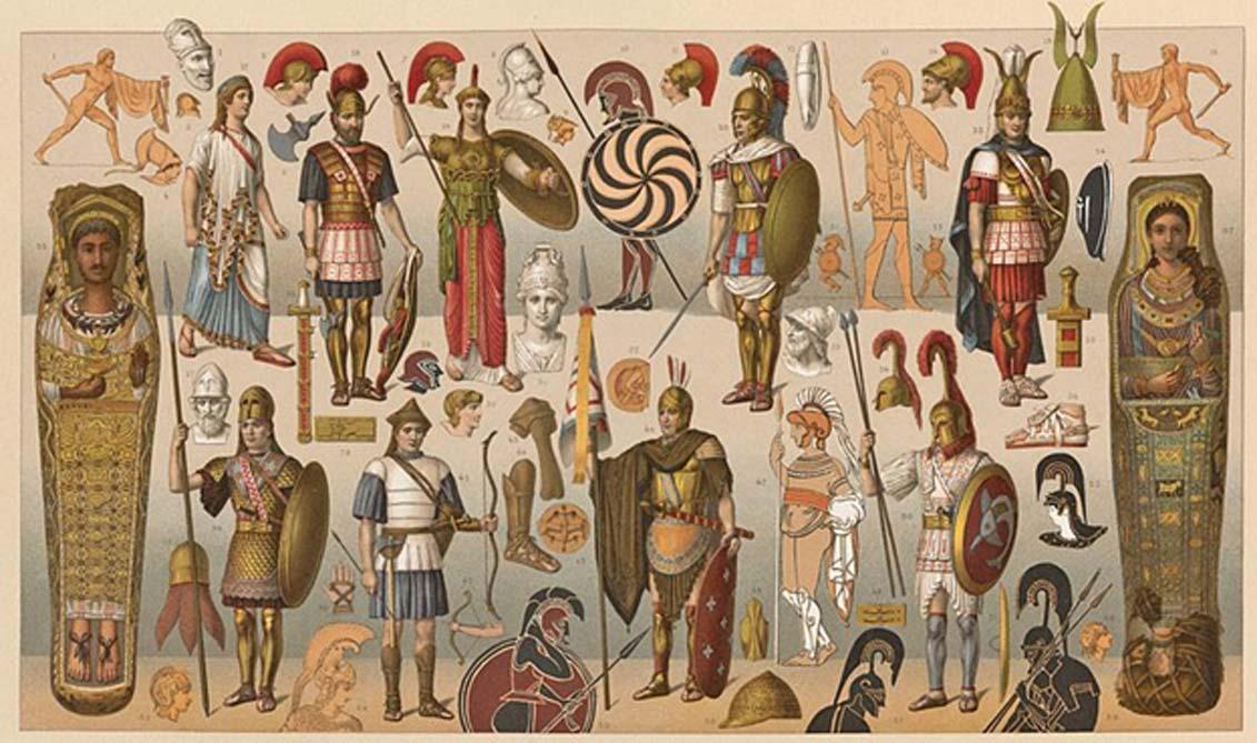 Placa de litografía con ilustraciones de antiguos guerreros griegos equipados con muy diversas armas y armaduras. (Dominio público)