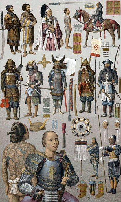 Guerreros samurái con diversos tipos de armas y armaduras, c. 1880 (Public Domain)