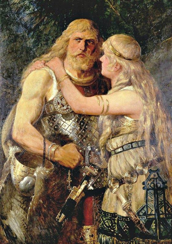 El caudillo querusco Arminio despidiéndose de su esposa Thusnelda (1884), óleo de Johannes Gehrts (1855-1921). Lippisches Landesmuseum Detmold (Public Domain)