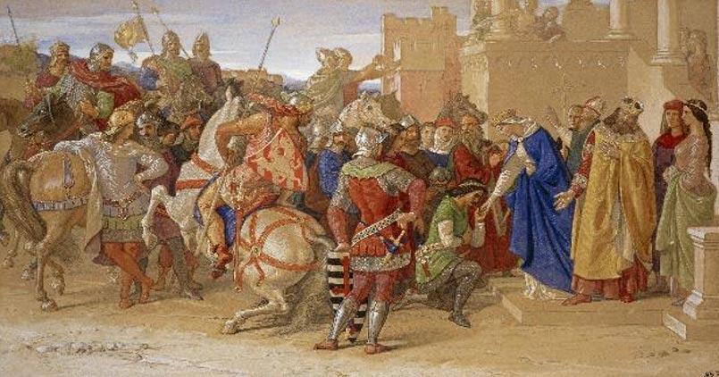 'La piedad: los caballeros de la Mesa Redonda a punto de partir en busca del Santo Grial'(1849), pintura de William Dyce. (Dominio público)
