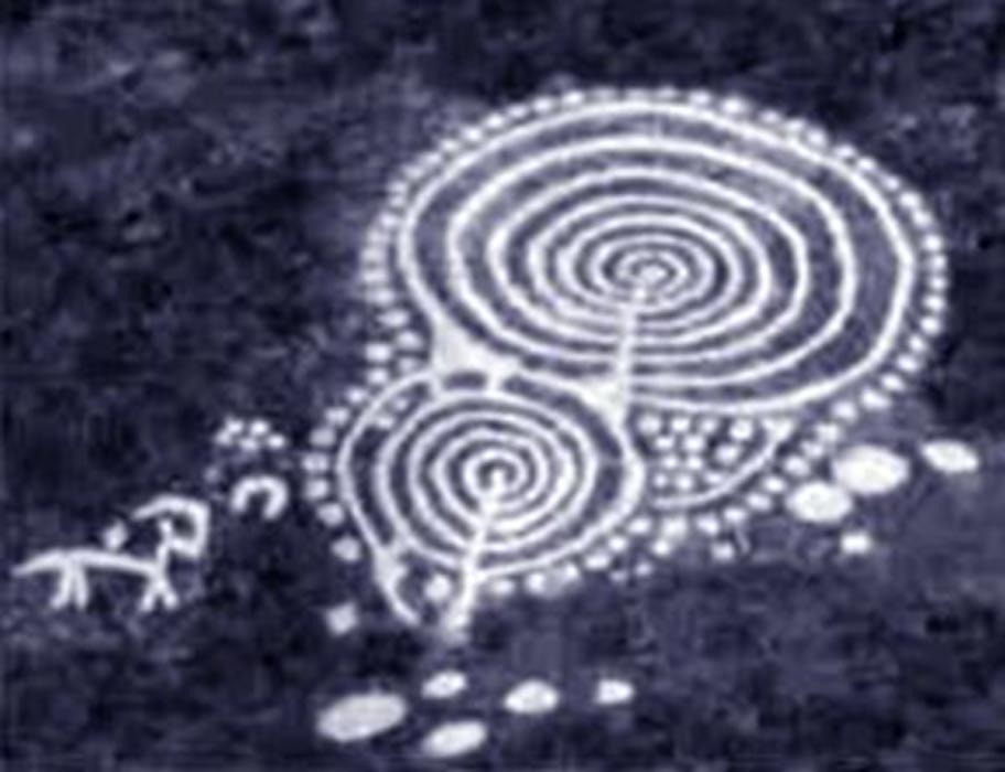 Arte rupestre con círculos concéntricos