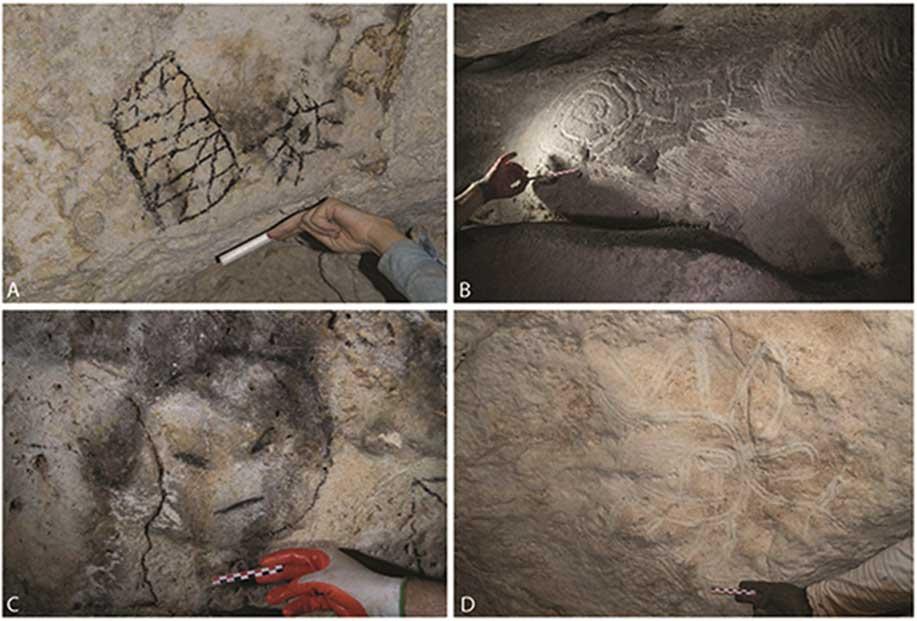 Diseños aditivos y extractivos halladas en las zonas oscuras de tres cuevas de la isla de Mona. A) motivos dibujados al carbón; B) acanaladuras realizadas con un dedo y zona de extracción sistemática (derecha); C) rostro dibujado al carbón; D) cara con extremidades y apéndices dibujada trazando acanaladuras con un dedo. (Journal of Archaeological Science / CC BY 4.0)